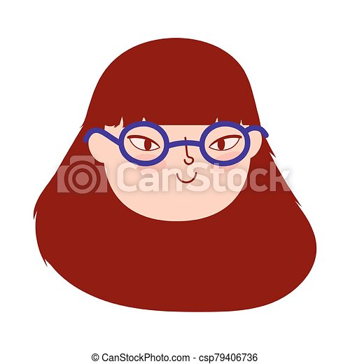 face young woman with glasses female character isolatd icon - csp79406736