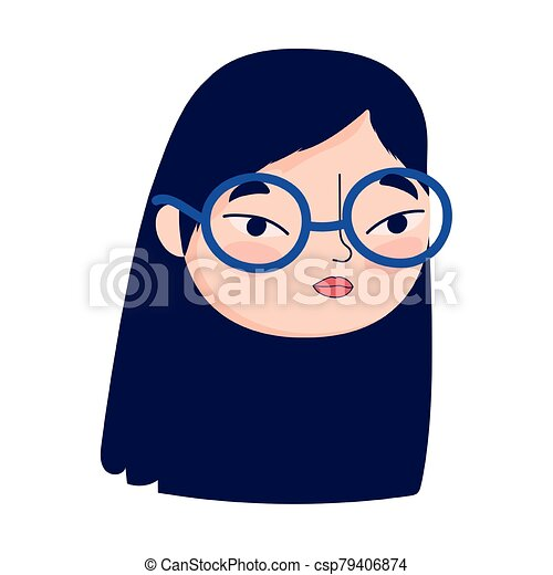 face young woman with glasses female character isolatd icon - csp79406874