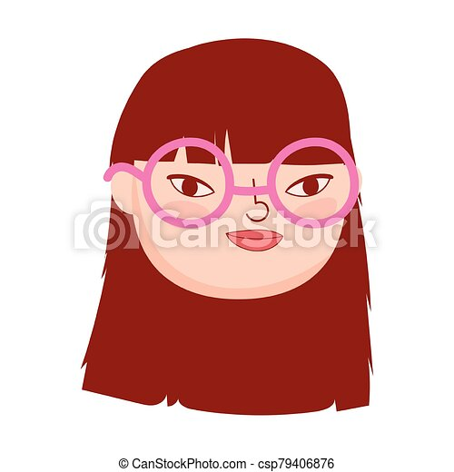 face young woman with glasses female character isolatd icon - csp79406876