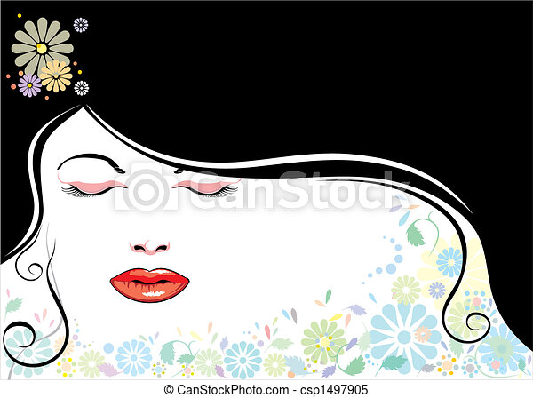 face_blackhair_flower - csp1497905
