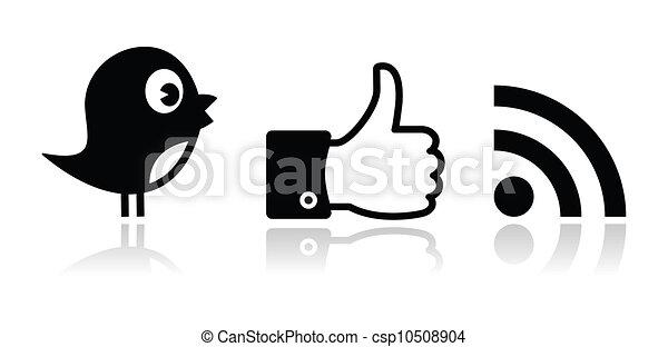 facebook, さえずり, 黒, グロッシー, rss - csp10508904