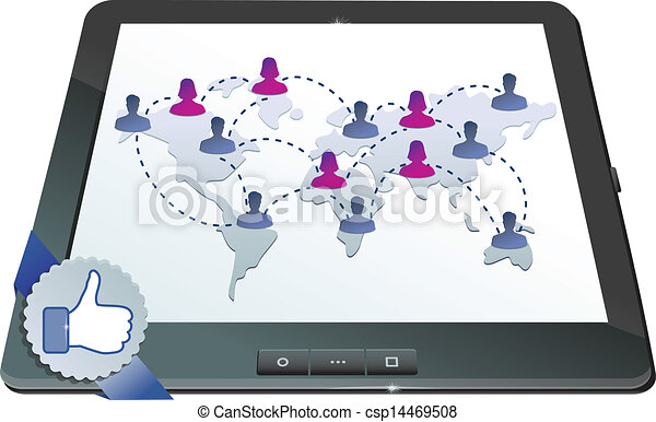 facebook concept - social network on the screen of tablet pc  - csp14469508