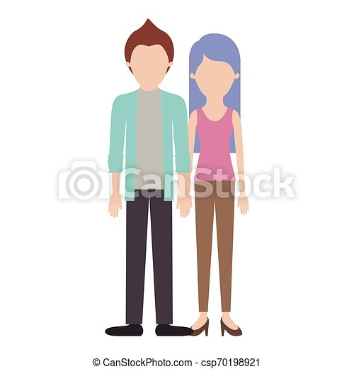 faceless couple colorful silhouette and him with shirt and jacket and pants and shoes with short hair and her with t-shirt sleeveless and pants and heel shoes with long straight hair - csp70198921