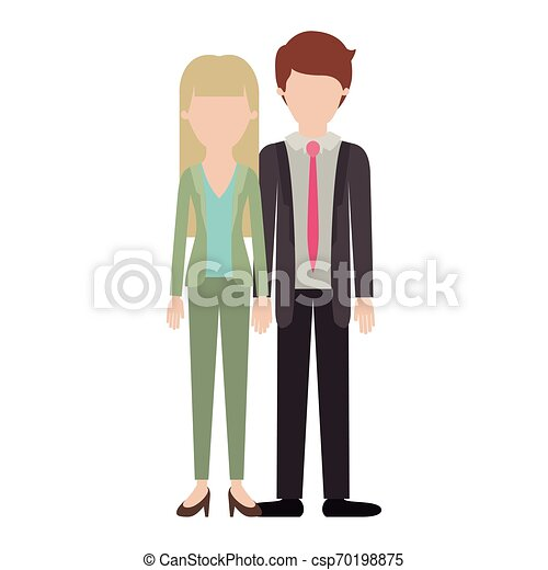 faceless couple colorful silhouette and her with blouse and jacket and pants and heel shoes with straight long hair and him with suit and tie and pants and shoes with short hair - csp70198875