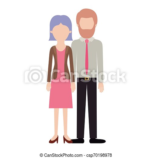 faceless couple colorful silhouette and her with blouse and jacket and skirt and heel shoes with short straight hairstyle and him with shirt and tie and pants and shoes with short hair and bearded - csp70198978