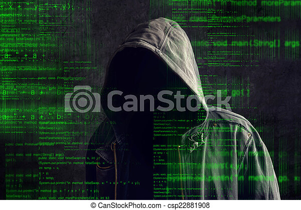 Faceless hooded anonymous computer hacker - csp22881908
