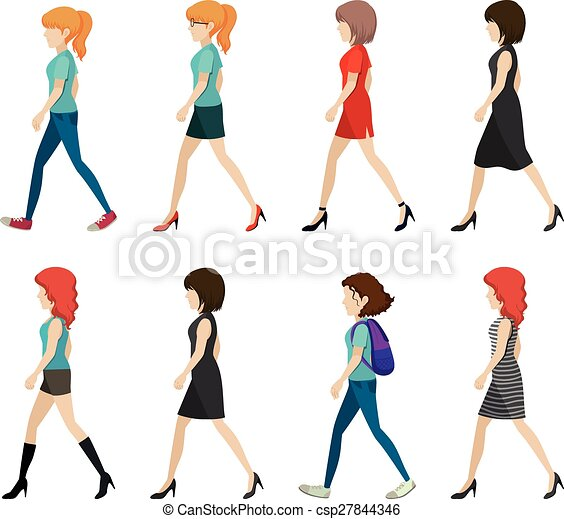 Faceless ladies walking in one direction on a white eps vector faceless ladies walking in one direction csp27844346 voltagebd Choice Image