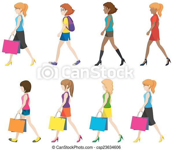 Faceless ladies walking in one direction on a white background faceless ladies walking csp23634606 voltagebd Choice Image