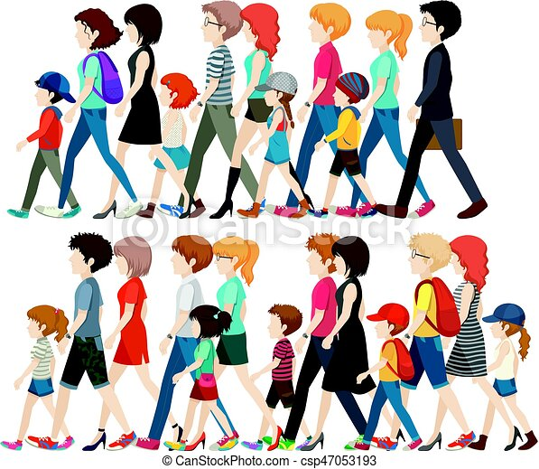 faceless people walking in group illustration eps vectors search rh canstockphoto com Group of People Graphic People Clip Art
