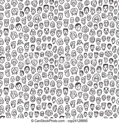 faces - seamless vector background - csp24128895