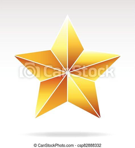 faceted, estrella del oro, vector - csp82888332