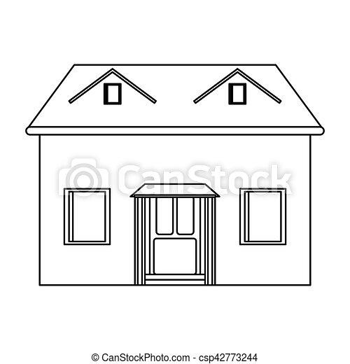 Fachada casa contorno desv n icono 10 contorno casa for Fachadas de casas modernas para colorear