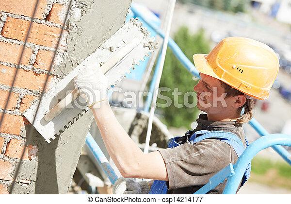 Un yesero de fachada en el trabajo - csp14214177