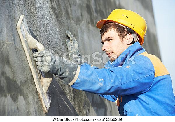 Trabajador de constructores de fachadas de yeso - csp15356289