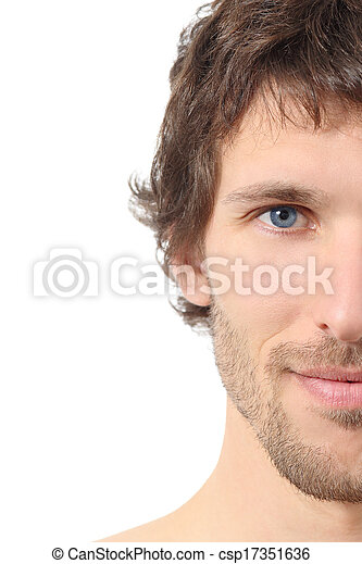 Facial close up of a half attractive man face - csp17351636