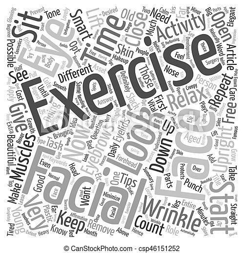Facial Exercise text background wordcloud concept - csp46151252