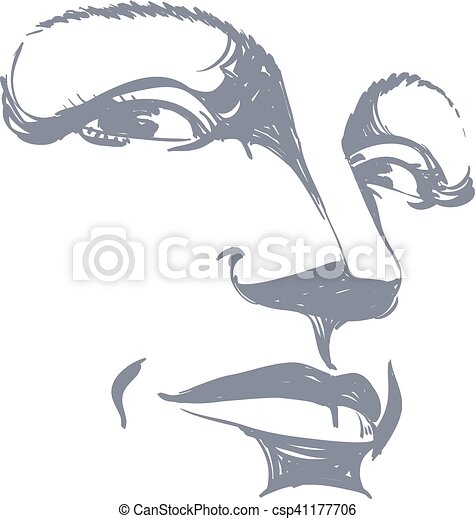 Illustration Visage facial expression, hand-drawn illustration of face of girl with