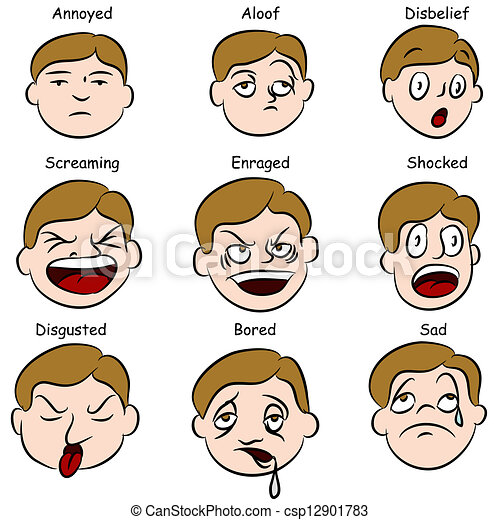 an image of a set of facial expressions vector search clip art rh canstockphoto com facial expressions clipart free facial expression clipart images