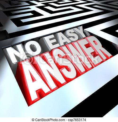 facile, no, risolvere, parole, risposta, labirinto, problema, superare, 3d - csp7653174
