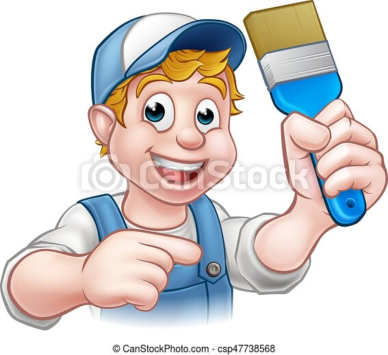 Personaje de dibujos animados decoradores de pintores - csp47738568