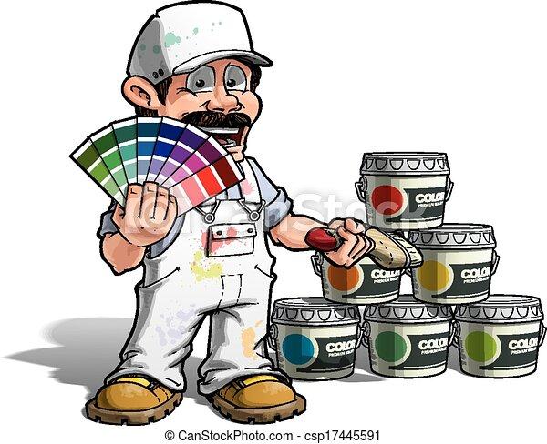 Hábil - color de color uniforme blanco pintor - csp17445591