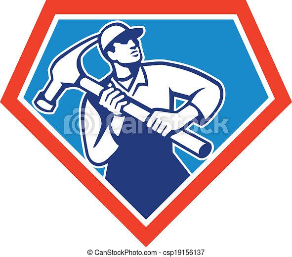 Constructor carpintero manitas Hammer retro - csp19156137