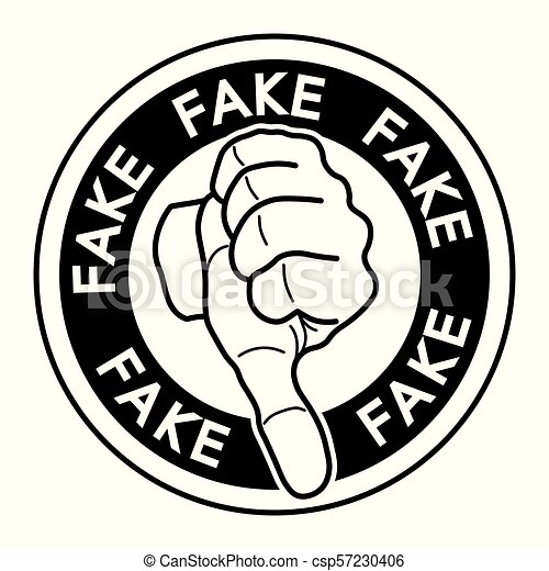 Fact Checking Vector Fake News Tag Silhouette Over White Background