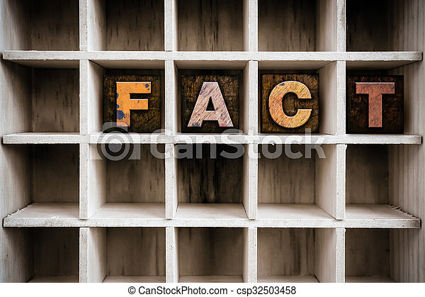 Fact Concept Wooden Letterpress Type in Draw - csp32503458