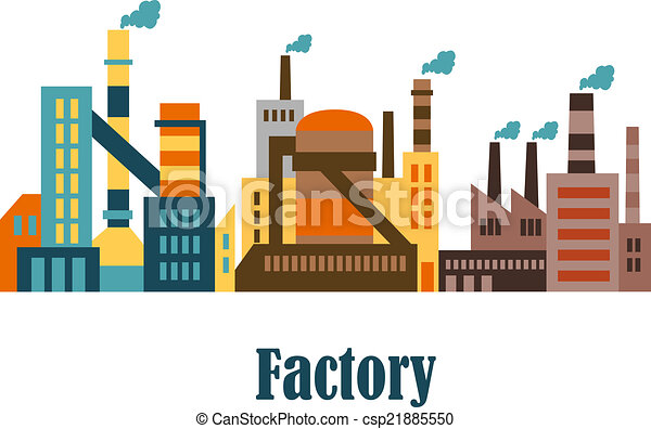 factory and plant buildings in flat style factory and plant rh canstockphoto com victor building department vector building silhouette