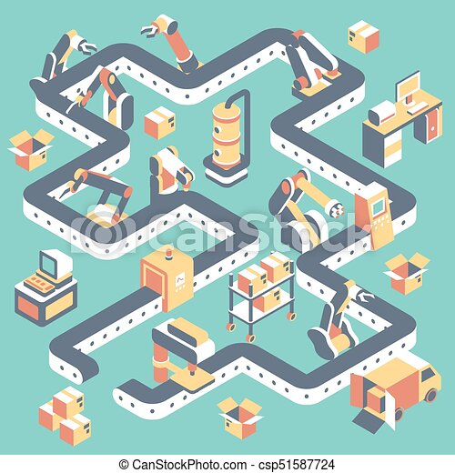 Factory Automated Production Line Vector Flat Isometric