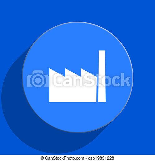 factory blue web flat icon - csp19831228