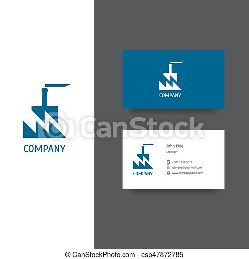 Factory building company logo and business card template.... vector ...
