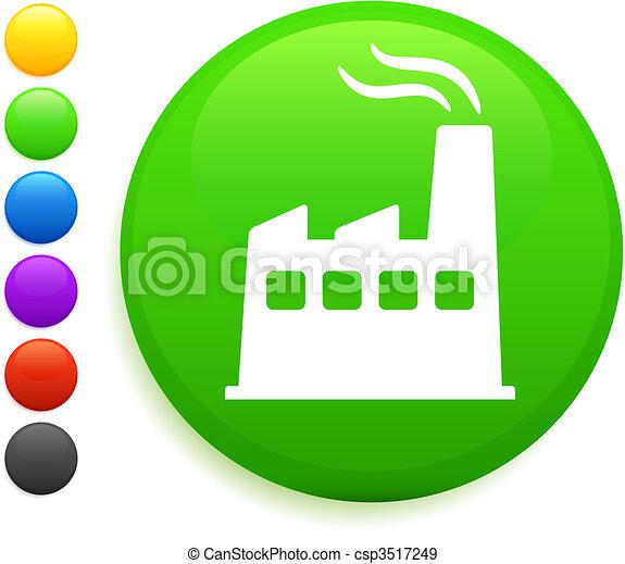factory icon on round internet button - csp3517249