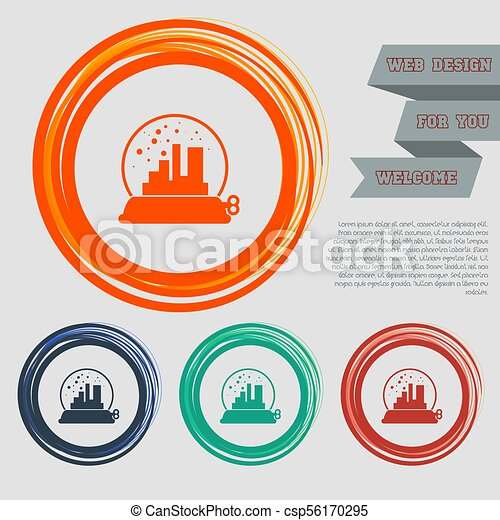 factory icon on the red, blue, green, orange buttons for your website and design with space text. Vector - csp56170295