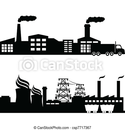 Factory, nuclear plant industrial buildings - csp7717367