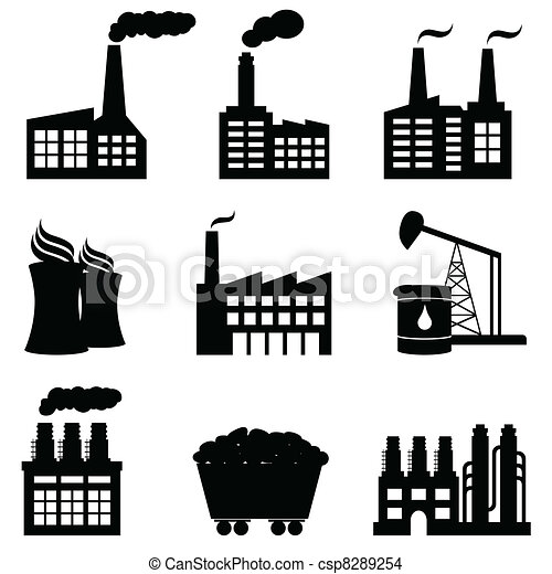 Factory, nuclear power plant and energy icons - csp8289254