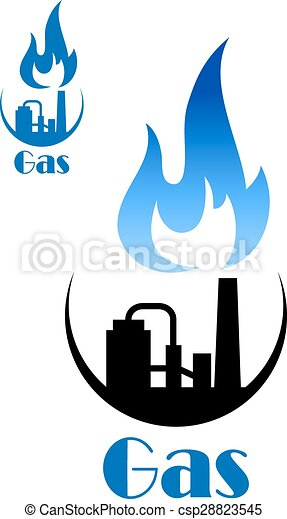 Factory Pipes With Blue Flame Of Natural Gas Factory Pipes Icon