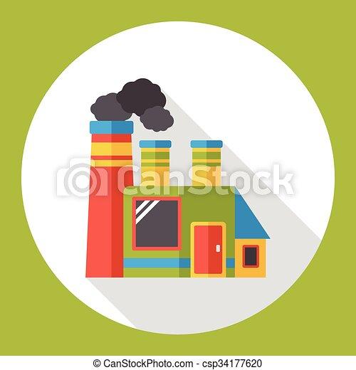 factory smoke flat icon - csp34177620