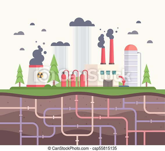 Factory with underground pipes - modern flat design style vector illustration - csp55815135