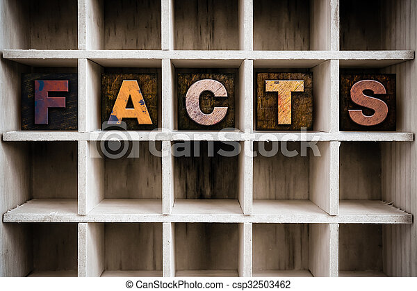 Facts Concept Wooden Letterpress Type in Draw - csp32503462
