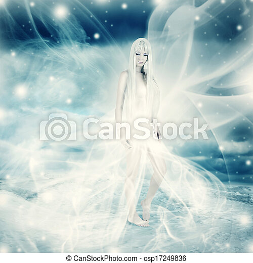 fada, mulher, inverno, fundo, neve - csp17249836