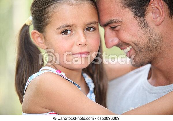 fader, ögonblick, delning, dotter, tillsammans - csp8896089