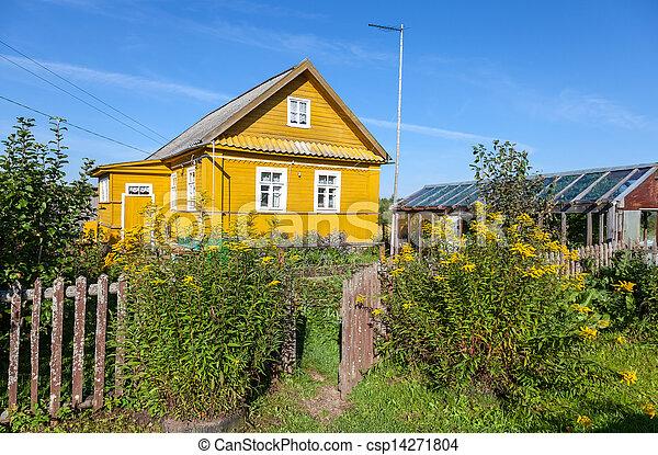 faház, színhely, sárga, vidéki, menstruáció - csp14271804