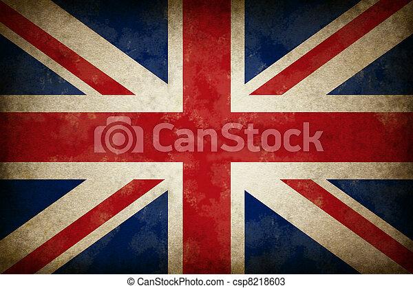 fahne, grunge, großbritannien - csp8218603