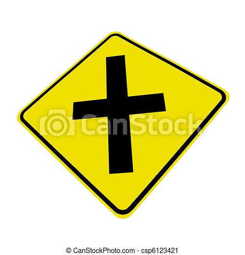 Fahrbahn, kreuzung, zeichen. Freigestellt, gelbes zeichen ...