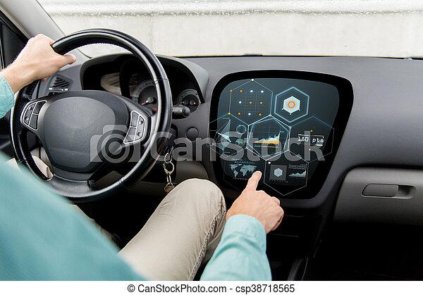 Fahren, auto, schirm, auf, diagramm, schließen, mann. Begriff ...