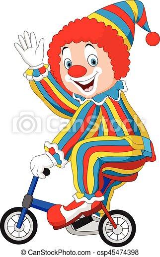 Ein glücklicher clown fährt auf einem rad.