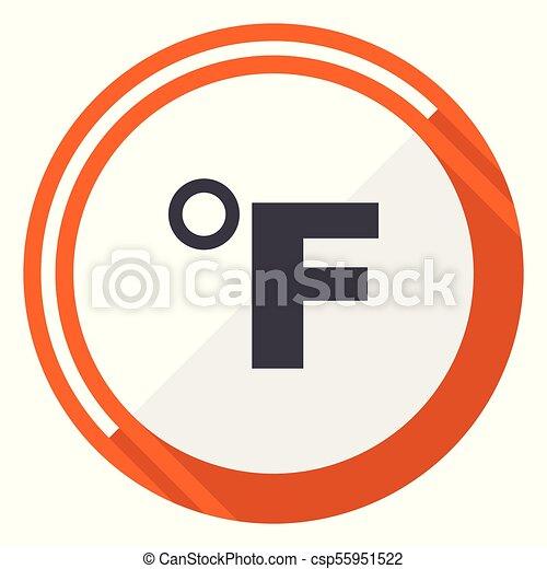 Fahrenheit flat design vector web icon. Round orange internet button isolated on white background. - csp55951522