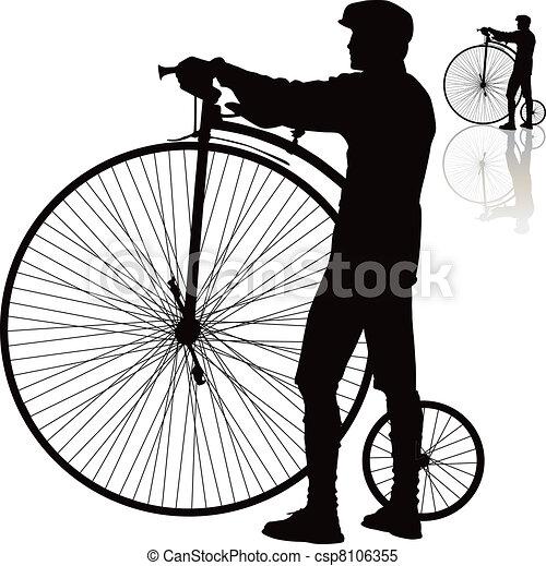 fahrrad, silhouette, retro