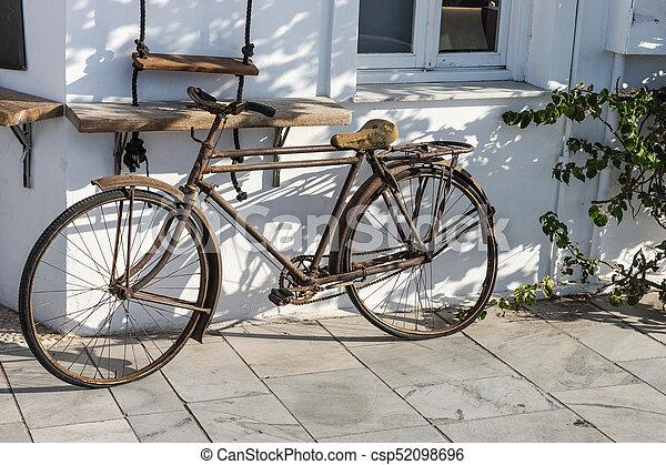 Fahrrad Wand Dekoration Rostiges Altes Weisses Fahrrad Wand